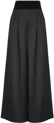 High Flawless black wide-leg satin trousers