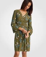 Ann Taylor Petite Floral Cutout Flare Sleeve Dress