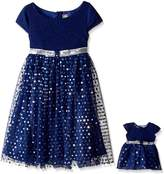 Dollie & Me Big Girls' Cap Sleeve Knit to Glitter Mesh Occasion Dress