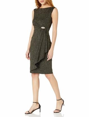 Tiana B T I A N A B. Women's Extended Sleeve Glitter Knit Midi Dress Black/Gold 8