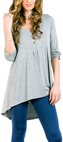 Gray Button-Front Hi-Low Tunic