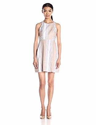 BCBGeneration Women's Linen Fit-and-Flare Stripe Dress