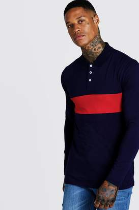BoohoomanBoohooMAN Mens Red Colour Block Muscle Fit Long Sleeve Polo, Red
