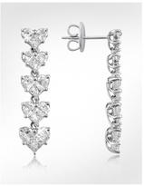 Diamond 18K White Gold Dangle Heart Earrings