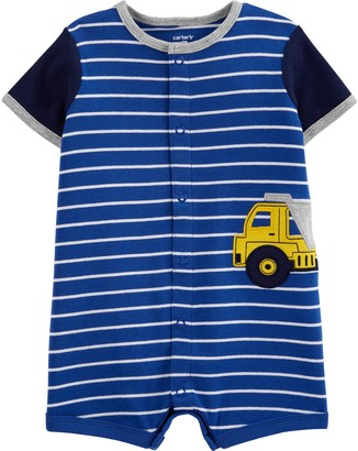 Carter's Baby Boy Striped Construction Snap-Up Romper