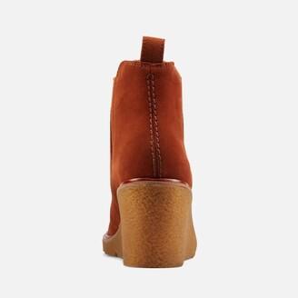 Clarks Women's Clarkford Top Suede Wedged Boots - Dark Tan