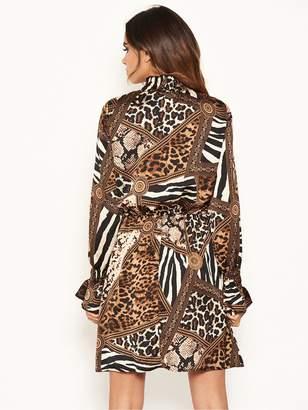 AX Paris Animal Print High Neck Skater Dress - Multi
