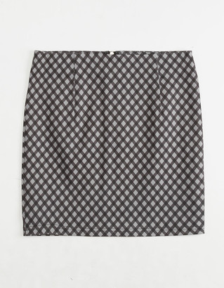 WHITE FAWN Gingham Girls Structured Skirt
