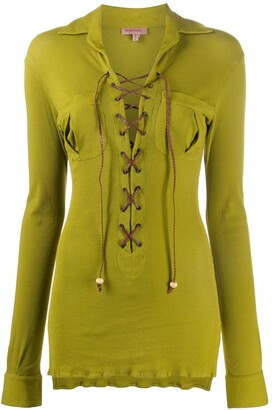Romeo Gigli Pre Owned 1990s Lace-Up Long-Sleeved Blouse
