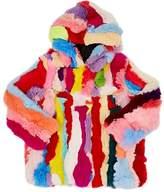 Adrienne Landau Pieced Rabbit-Fur Coat