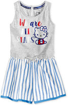 Hello Kitty Graphic Striped Short Romper, Toddler and Little Girls (2T-6X)