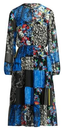 Lauren Ralph Lauren Ralph Lauren Patchwork Georgette Long-Sleeve Dress