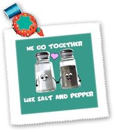 3dRose LLC qs_58327_10 InspirationzStore Cute Food - We go together like salt and pepper - Cute smiling cartoon condiments shakers in love - Turquoise - Quilt Squares