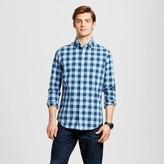 Merona Men's Long Sleeve Button Down Shirt Blue Check