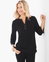 Chico's Split-Neck Grommet Top