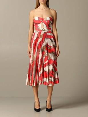 Elisabetta Franchi Celyn B. Elisabetta Franchi Dress Elisabetta Franchi Dress With Chain Print And Pleated Skirt