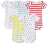 Petit Bateau Set of 5 baby girls striped/printed bodysuits