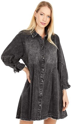 Free People Hannah Mini Denim (Black) Women's Dress