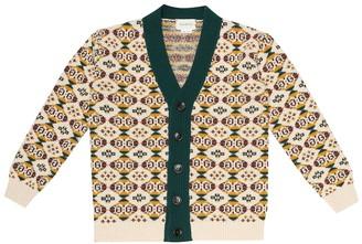Gucci Kids GG jacquard wool cardigan