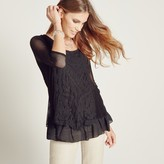 Apricot Black Embroidered Panel Mesh Tunic Blouse