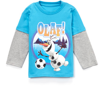 Children's Apparel Network Boys' Tee Shirts Blue - Frozen Olaf Blue Soccer Layered Tee - Toddler