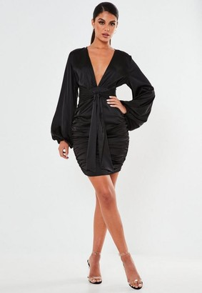 Missguided Black Satin Balloon Sleeve Plunge Mini Dress