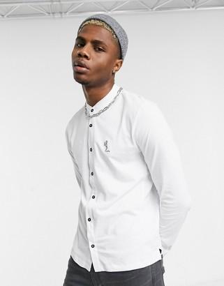 Religion grandad collar shirt with praying skeleton in white