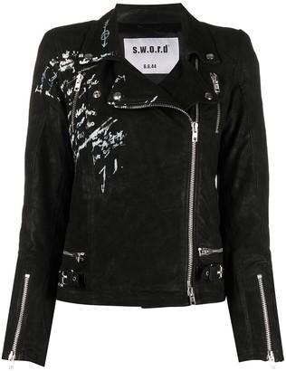 S.W.O.R.D 6.6.44 Printed Biker Jacket