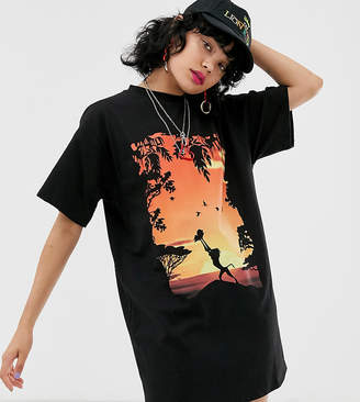 Asos Design Disney The Lion King x DESIGN t-shirt dress with iconic sunset print-Black