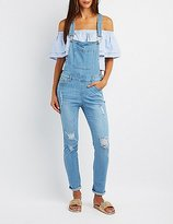 Charlotte Russe Distressed Denim Overalls