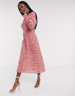 NEVER FULLY DRESSED long sleeve midaxi dress in red floral print
