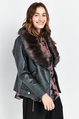 Wallis PETITE Grey Faux Fur Collar Biker Jacket