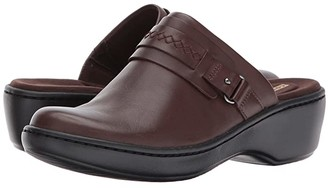 Clarks Delana Amber (Dark Brown Leather) Women's Clog Shoes