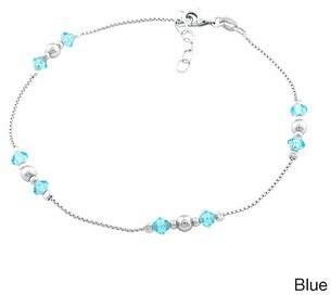 La Preciosa Sterling Silver Link-chain Crystal Anklet