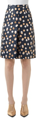 Akris Punto Gold Leaf Dot Pleat Skirt