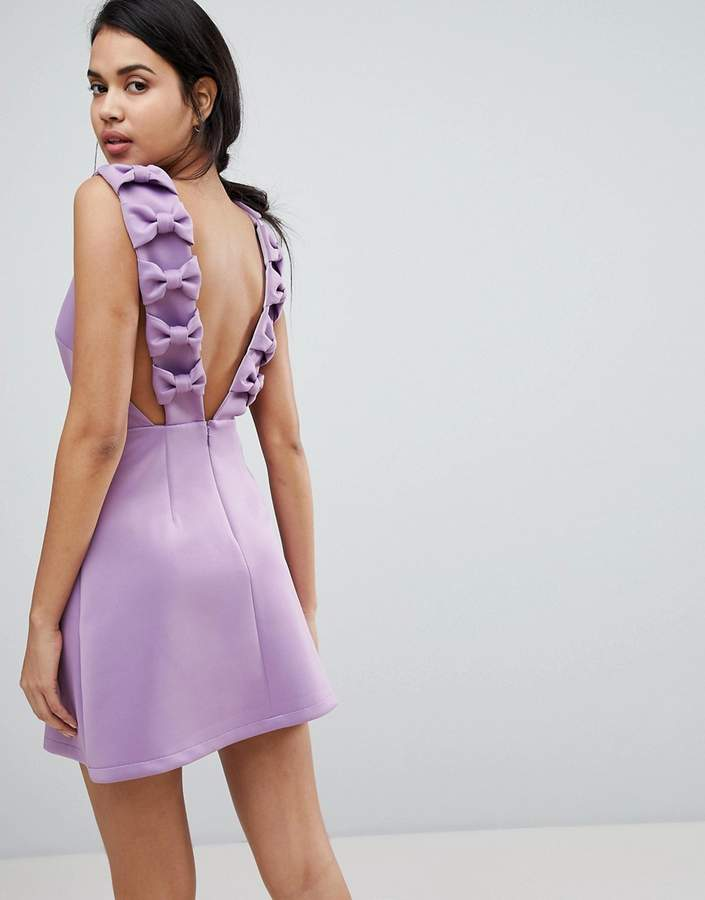 Asos Design Bow Strap Back A Line Mini Dress