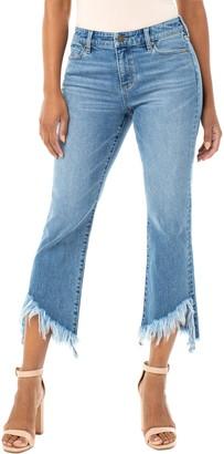 Liverpool High Waist Chewed Step Hem Crop Flare Jeans