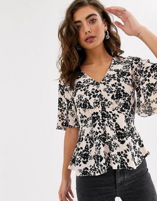 Topshop tea blouse in floral print
