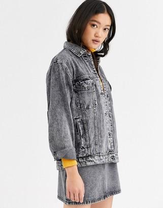 Only oversized denim jacket in acid wash-Grey