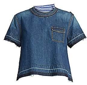 Sacai Women's Pinstripe Denim T-Shirt