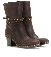 Miu Miu BELTED LEATHER ANKLE BOOTS WITH STUDDED TRIM