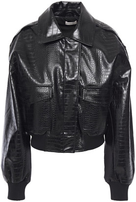 Ronny Kobo Giovanna Faux Croc-effect Leather Bomber Jacket