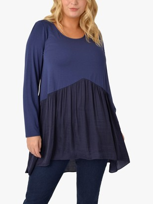 Live Unlimited Curve Satin Jersey Top, Navy