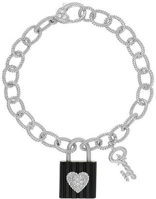 Judith Ripka Sterling Onyx Lock & Key Charm Bracelet