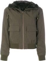 Army Yves Salomon lined bomber jacket