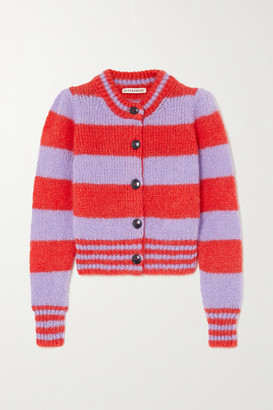 ALEXACHUNG Striped Mohair-blend Cardigan - Red