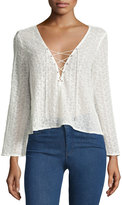 Lucy Paris Lace-Up V-Neck Eyelet Blouse, White