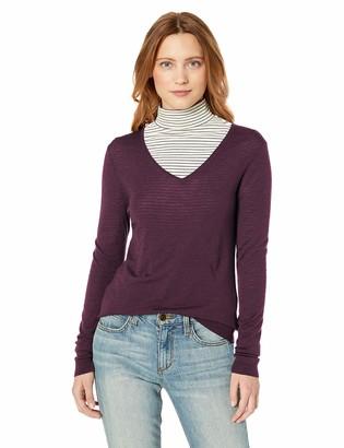 Lark & Ro Women's Merino Wool Long Sleeve V Neck Sweater