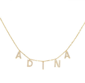 Adina's Jewels Cubic Zirconia Block Name Necklace