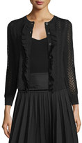 Marc Jacobs Button-Front Cropped Cardigan W/Ruffle Trim, Black